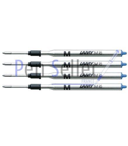 Lamy: Großraum-Kugelschreibermine M16: Farbe: blau, Strichbreite: F, 4er-Set.