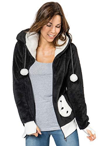 Sublevel Damen Fleece Jacke Panda Style mit Öhrchen und Panda Gesicht dark grey M