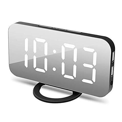 """JOYEEN Sveglia Digitale LED, Sveglia da Comodino, Display LED da 6,5"""", con Funzione di Snooze/Luminosità Regolabile/Superficie a Specchio/Sistema 12/24 Ore, 2 Porte di Ricarica USB (Black)"""