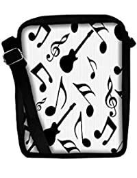 Snoogg Music Strings In Black Sling Bags Crossbody Backpack Chest Day Pack Travel Bag Book Bag For Men & Women
