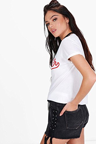 "Damen Weiß Petite Nina T-shirt Mit ""hipster"
