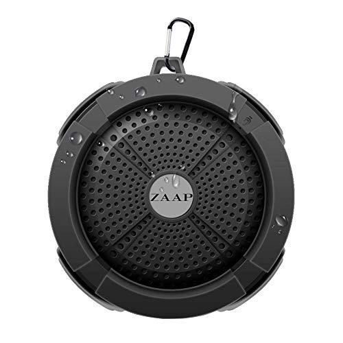 ZAAP  USA  Aqua Waterproof/Shockproof Bluetooth Wireless Speaker with Built in Microphone  Black  Bluetooth Speakers