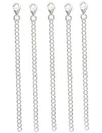 5 x 10cm 4inch aprox. plata de ley cadena de extensión & clip .925 CER6350-10-XX05