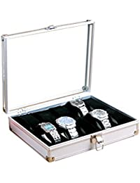 House of Quirk Aluminum Alloy 10 Grid Watch Display Storage Square Organizer Slots Watch Box