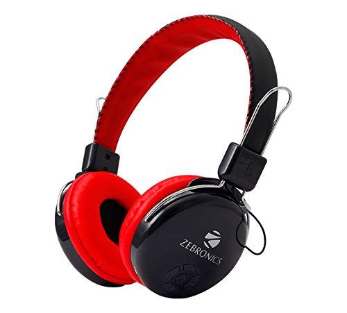 Zebronics Zeb RAGA Bluetooth Headset Headphone Wireless Over Ear Music with Mic  Red  Bluetooth Headsets