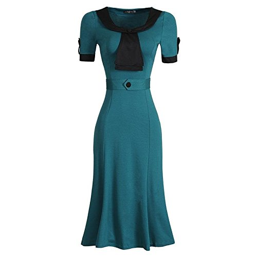 Jeansian Femmes Fashion Slim Robe Retro Bow Neck Manches Courtes Slim OL Sexy Dress WKD276 green
