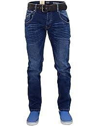 New Mens Designer Firetrap Stretch Jeans Cotton Slimt Fit Denim Pants Free Belt