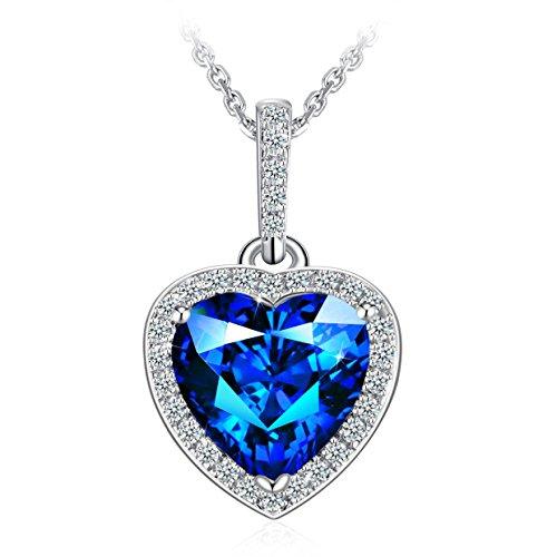 Weihnachten blau Herz Halsketten für Frauen, 925Sterling Silber Herz Anhänger Halskette J. Rosée Jewelry