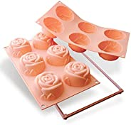 Silikomart 20.077.03.0063 SF077 Moule Forme Rose Taille Grande 6 Cavités Silicone Pêche