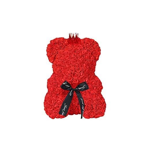 TAOtTAO Valentinstag Geschenk Roter Rosen-Bärn-Blumen-Teddy 9 Zoll-Geschenke für Hochzeits-Geburtstags-Valentinsgruß Blasen-Rosenbär des Valentinstags (E)