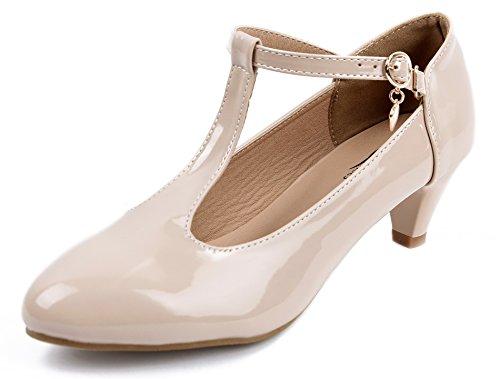 AgeeMi Shoes Damen Mitte Blockabsatz Riemchen Pumps T Spangen Runde Zehe Pumps,EuD30 Aprikosen Farbe 39