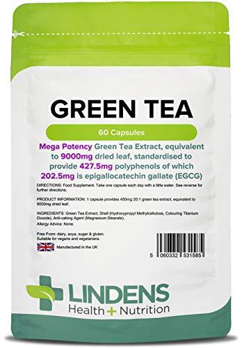 Lindens Capsule al tè verde ad alta resistenza da 9000 mg | 60 Confezione | Super resistenza ed elevata produzione di polifenoli di 427 mg e di EGCG di 203 mg