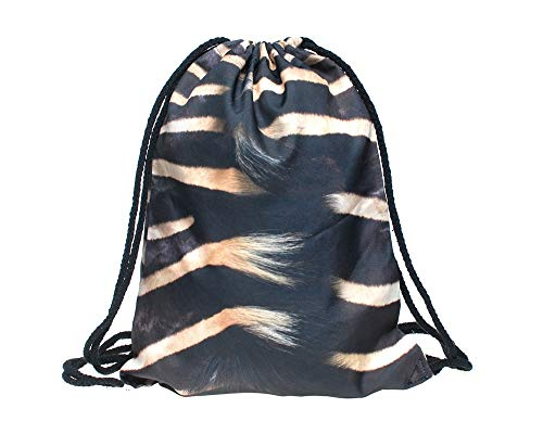 Hanessa Jutebeutel -Großaufnahme Zebra-Fell Hals - mit lustigem Spruch Aufdruck Sportbeutel lustige Sprüche Tüte Rucksack Beutel Tasche Gym Bag Hipster Fashion Sport-Tasche Einkaufs-Tasche RU-277