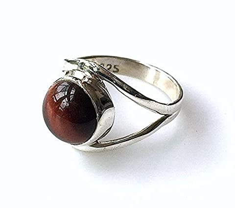 Shanya Sterling Silver Ethnic Ring Tiger's Eye, made of Solid Silver and genuine Tiger's Eye, each ring is individually handcrafted. The stone size is 6 x 6 mm. Design SSCTE. UK Size G