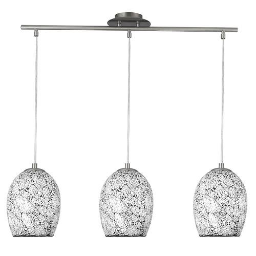 Searchlight 8069-3WH Crackle Polished Chrome 3 Lamp Bar Pendant Ceiling Light with Mosaic Mirror Glass Shades