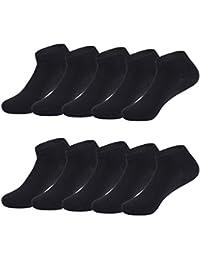 TUUHAW Calcetines de Deporte Low Cut Pro para Hombre Mujer y niño 10 Pares Calcetines Cortos Tobilleros Deportivos Zapatilla Transpirable(Negro4346)