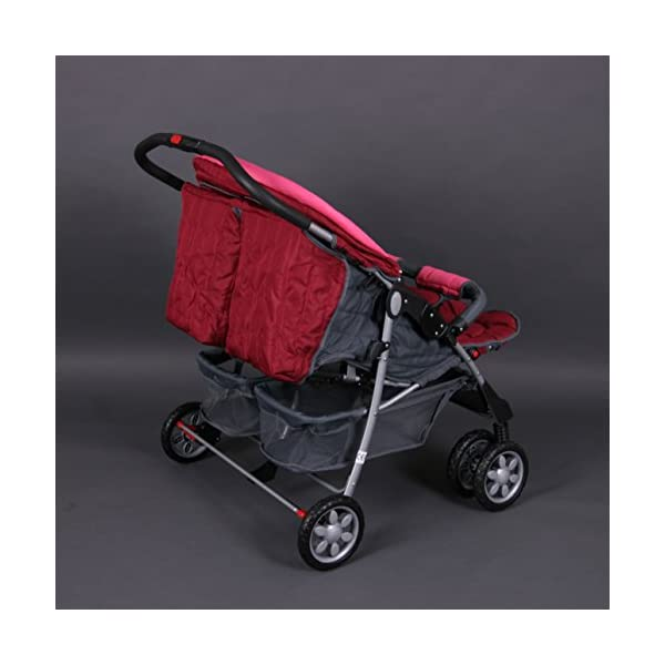 Deluxe Tandem - Twin Pram rose - BambinoWorld Bambino World Ideal pram for parents of twins or children with small difference in age.Thus you remain mobile also with 2 babies or infants. Main features: Very compact and light ; Adjustable backrest ; Foot rests adjustable ; Easy folding . 100% safety for your child : 5-point safety harness ; Brake on rear wheels ; Lockable swivel front wheels ; Complies with strict European norms . 4