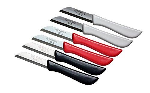 6er Set Gemüsemesser scharf / Küchenmesser / Schälmesser / Obstmesser - Bandstahl Elegance Serie rot / grau / weiß Solingen Germany (bunt-grau-weiß-rot)