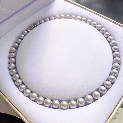 Lnyy Perlenkette Süßwasser Grau Perlen Runde Halskette zu Mama schicken