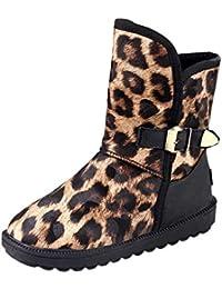 ZODOF Botas de Nieve para Mujer Calzado Plano con Estampado de Leopardo de Punta Redonda para Mujer de Invierno Mantenga cálidas Botas de Nieve con Hebilla y Correa