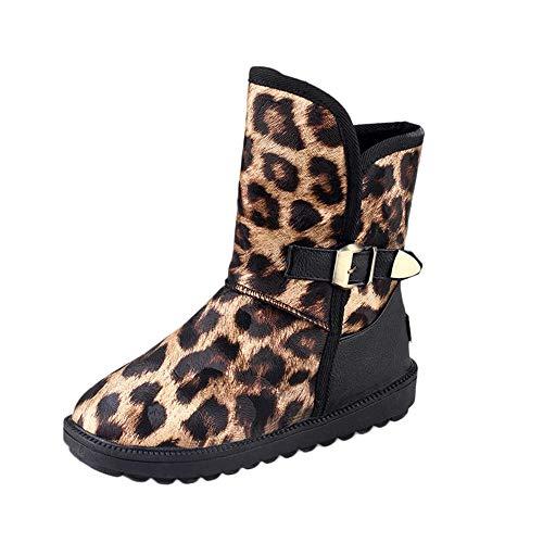 BHYDRY Schuhe Klassisch Damen Schnallenriemen Schneestiefel Winter Round Toe Stiefeletten Plateau Boots Profilsohle Leopard Druck Warm Flacher Schuh (37.5 EU,Gelb)