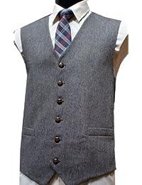 Laine classique Style poignée Donegal Gilet en Tweed gris