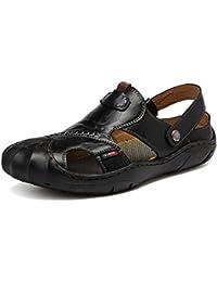 De los hombres Baotou Colisión Ocio Sandalias Uso dual Manga Antideslizante Zapatillas Ligero Respirable Zapatos al