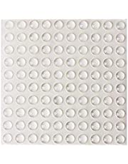SHAFIRE Round Adhesive Silica Gel Bumpers Door Cabinet Drawer Safety Stopper Mute Buffer, 3x8 mm, Clear -Set of 100 Pieces, 1 Sheet