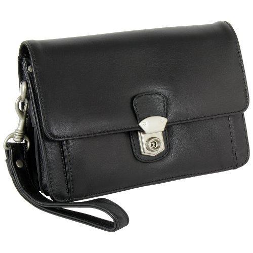 Branco Business Herren Handgelenktasche Herrentasche Tasche schwarz Leder