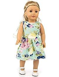Vestido Estampado Verano Manga Corta Falda +Bragas para 18 Pulgadas muñeca Americana Accesorio de Juguete