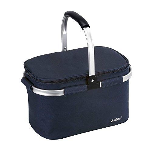 41CIotCXYsL. SS500  - VonShef 22L Cooler Bag - Large Insulated Cooler Bag for Outdoor Use, Picnic Camping, Beach - Blue