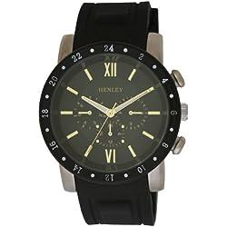 Henley Herren-Armbanduhr Analog Quarz Silikon schwarz H02041.11