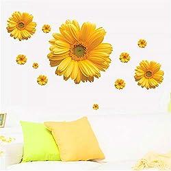 Margarita Amarilla Flor Pegatinas De Pared Dormitorio PVC Decal Mural Artes Bricolaje Decoración Para El Hogar Tatuajes De Pared Carteles