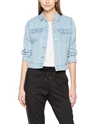 VERO MODA Damen Jeansjacke Vmhot Soya LS Denim Jacket MIX Noos, Blau (Light Blue Denim), 38 (Herstellergröße: M)