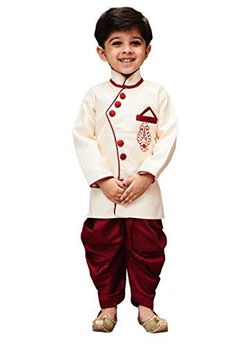 JBN Creation Boys' Straight Regular Fit Kurta Pyjama (VASVIRAT02_Gold_6-7 Years)