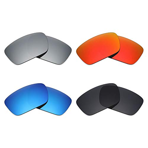 MRY 4Paar Polarisierte Ersatz Gläser für Oakley Fuel Cell sunglasses-stealth schwarz/fire rot/ice blau/silber titan