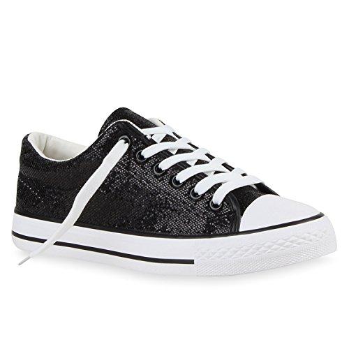 Glitzer Damen Sneakers Sneaker Low Metallic Schnürer Denim Flats Turn Sport Schuhe 118603 Schwarz Glitzer 38 Flandell