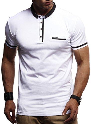 LEIF NELSON Herren Sommer T-Shirt Polo Kragen Slim Fit Baumwolle-Anteil | Basic schwarzes Männer Poloshirts Longsleeve-Sweatshirt Kurzarm | Weißes Kurzarmshirts lang | LN1280 Weiss X-Large -