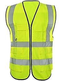beishuo alta visibilidad chaleco reflectante chaleco de seguridad con y organizador con cremallera para deporte, actividades al aire libre o trabajo, amarillo