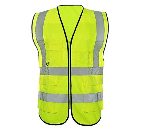 beishuo Gilet cerniera riflettente ad alta visibilità Gilet di sicurezza con Multi Tasche per sport, attività all' aperto o lavoro, giallo - Sport e all'aperto Attrezzature per attività all'aperto