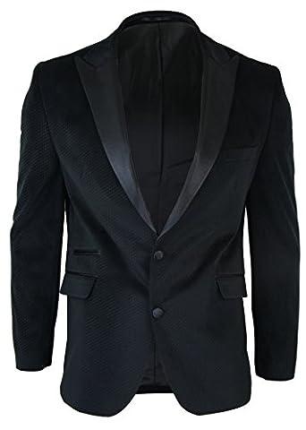 Mens Slim Fit 1 Button Velvet Blazer Tuxedo Dinner Jacket Black Satin Smart Casual