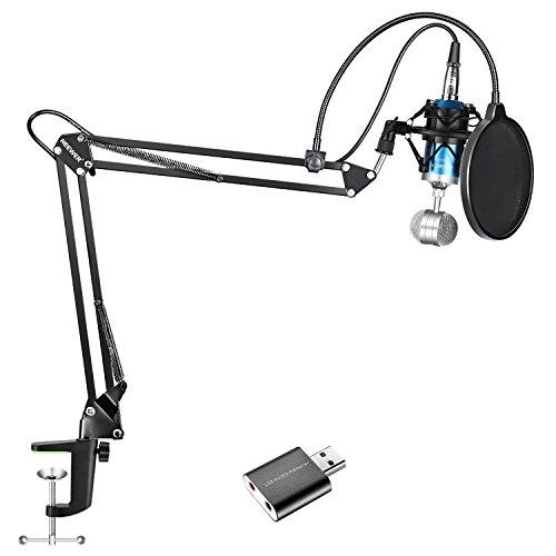 Neewer 5-in-1 Kondensatormikrofon und Zubehör-Kit: NW-1500 Tisch-Kondensatormikrofon (blau), NW-35 Federung Ausleger Schere Armständer, NW (B-3) Pop Filter Maske Schild und USB 2,0 Soundadapter