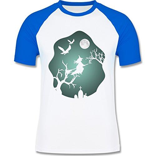 Shirtracer Halloween - Hexe Mond Grusel Grün - Herren Baseball Shirt Weiß/Royalblau