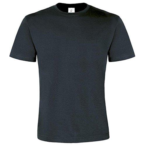 B & C Collection Herren großzügiger Schnitt Exact 2-lagig Rundhalsausschnitt Kurzarm T-Shirt Grau - Dunkelgrau