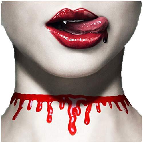Dorical Damen Halloween Halskette Blut Halsband Scary Bluttropfen Verletzung geschnitten Choker Horror Karneval Fasching Halloween Kostüm Schmuck Accessoires(Rosa,19cm x 10cm x 3xm)