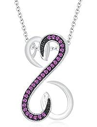"Silvernshine Ladies 1.2Ct Round Pink Sapphire Open Heart Pendant 18"" Chain 14K White Gold Fn"
