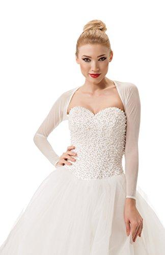 Damen Bolero Bolerojackchen Hochzeit Jacke Tuch fur die Braut Elfenbein weib elastischer Tull...