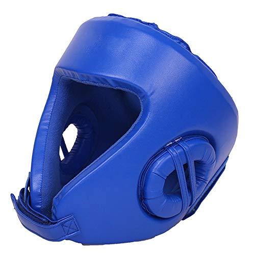 Ausrüstung für das Boxtraining Boxen Kopfbedeckung PU Leder Kopfschutz Sparring Helm für Boxen MMA UFC Muay Thai Kickboxing Mixed Martial Arts. Sportartikel ( Farbe : Blau , Größe : L ) -