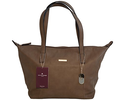 Borsa donna David Jones in ecopelle modello shopper - cammello