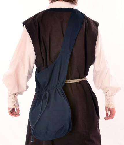Mittelalter Umhänge-Tasche braun schwarz rot grün blau beige Baumwolle/Leinenlook Mittelalterliche Kleidung (one size, schwarz) - 4